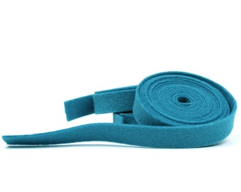 "Wool Felt - 100 Percent Wool Felt Ribbon in color OCEAN - 1/2"" X 2 yards - Merino Wool Felt - Blue Ribbon - Ocean Ribbon"