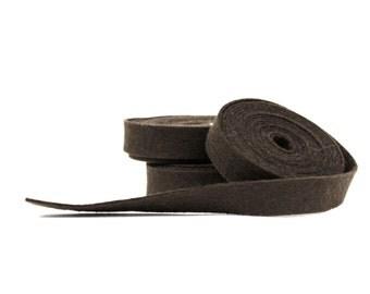 Wool Felt - 100 Percent Wool Felt Ribbon in color COFFEE -1/2 Inch X 2 yards - Merino Wool Felt - Brown Ribbon - Coffee Ribbon