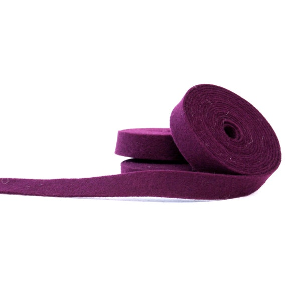 Wool Felt - 100 Percent Wool Felt Ribbon in color BERRY - 1/2 inch X 2 yards - Merino Wool Felt - Purple Ribbon - Berry Ribbon