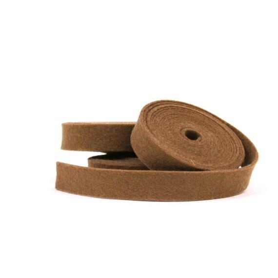 Wool Felt - 100 Percent Wool Felt Ribbon in color CAPPUCCINO - 1/2 inch X 2 yards - Merino Wool Felt - Brown Ribbon - Cappuccino Ribbon