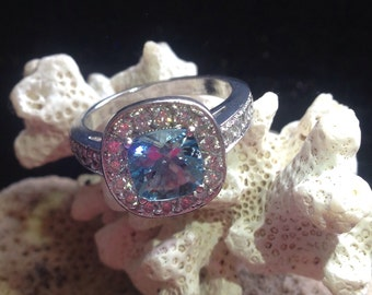 ONLY One Available Platinum Aquamarine and Diamond Ring