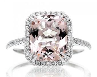 14 Karat White Gold 10x8 mm Cushion Cut Diamond Halo Gemstone Engagement Anniversary Ring