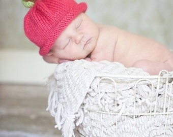 Apple Hat Knitted Cotton Yarn 0-3 months Fall