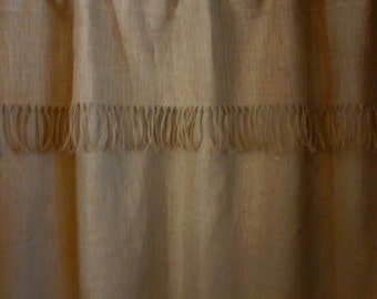 """Burlap Fringed Valance for over your shower curtain.Measures 72""""WX21"""""""