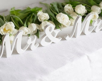 Mr and Mrs wedding signs freestanding letters white custom colors DIY sweetheart table