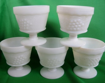 Vintage Grape Footed Milk glass sherbet cups  MINT Set of 5