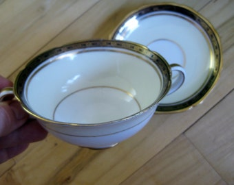 Antique Noritake Goldany Bouillon Cup and Demitasse Saucer  Good to Fair, Early  backstamp,