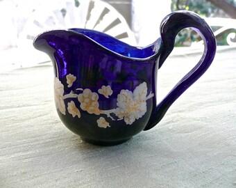 Vintage Pitcher - Antique Miniature Jug - Bristol Blue Pitcher - Dollhouse Kitchen - Collectible - Gilded Enamel Paint - Grape Leaf Pattern