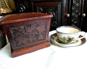 Antique Box - Tea Caddy - Celtic Knot - Wooden Hinged Lid Box - Decorative Storage Box - Hand Carved - Arts & Crafts