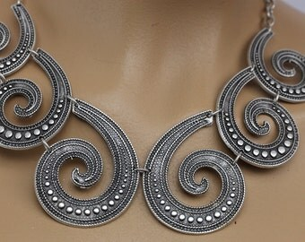necklace silver-plated, Bohemian Jewelry -Tribal jewelry ethnic jewelry