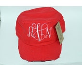 Monogramed Distressed Cadet Cap,White, Tan, Navy, Hot Pink,Red,Royal Blue,Pink/White Camo