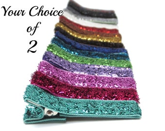 Glitter Hair Clips, 17 Colors, Hair Bows, Clips for Babies Toddlers Girls Adults