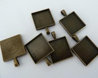 10 x 20mm Antique Bronze SQUARE pendant trays