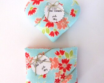 Hand Warmers - Choice of Hearts or Rectangles Aqua Spring