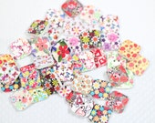 Square colorful Floral Strawberries and Butterfly Wood Buttons