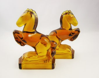 L. E. Smith Art Deco Style Amber Glass Horse Statues - Bookends - Office - Den - Bucking Horses in Brown Glass on Squared Bases - Equine