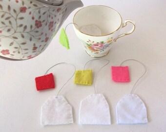 Felt Tea Bags, Cup of tea, Felt Food Tea Party, Pretend Play food