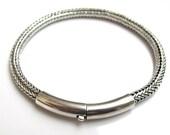 925 Sterling silver bangle braided bracelet handmade artisan jewelry men women heavy chain silver bracelet