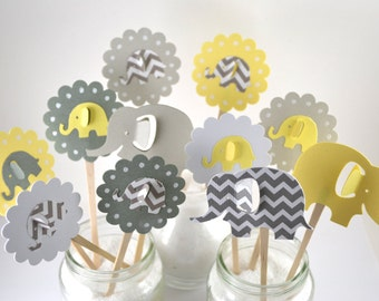 12 Yellow & Grey Chevron Elephant Cupcake Toppers/ Elephant Party Decor /Elephant Baby Shower/Elephant Cupcake Toppers/ Zoo Party