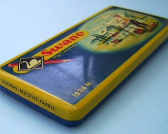 Swano Polychromos. Swan Color Pencils. Litho Tin Box. Vintage Art Supplies. 1940s Tins