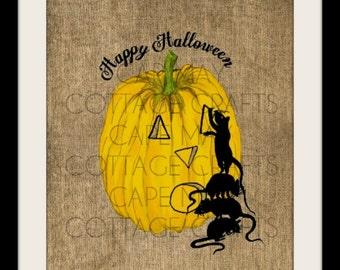 Burlap Halloween Print, Pumpkin