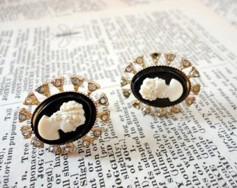 Vintage Black Cameo Clip Earrings1960s Rhinestones Screw back Gold tone Upcycle or Assemblage