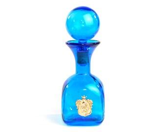 Blue Glass Decanter - Gold Lion Knight Crest Label - Mid-Century Bar Shelf Display - Vintage Home Kitchen