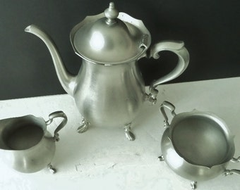Footed Pewter Tea Pot Cream Pitcher Sugar Bowl Touchmark Signed Poole Vintage