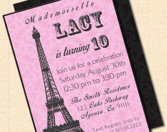 DIY Printable Eiffel Tower Invitation - Black and White or Pink and Black - Birthday, Baby Shower, or Girls Night Digital Design