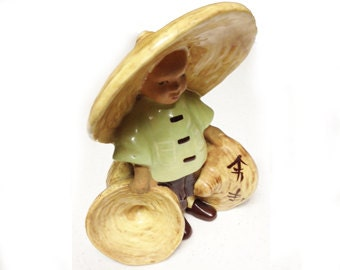 Vintage 1947 McCarty Bros. Sierra Madre California Pottery-Asian Chinese Boy Ceramic Planter