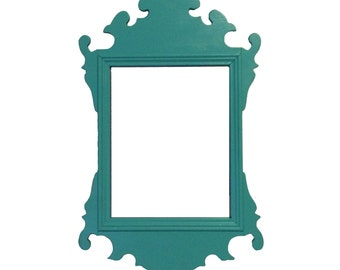 Small Vintage Turquoise Chippendale Mirror