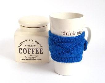 SALE - 50%OFF. Blue Knit Coffee Cozy. Knitted Tea Cup Cozy. Knit Blue Mug Cozy.