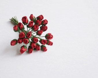 Tiny Red Paper Rose Buds.