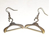 Hanger charm earrings, Dangle earrings, Bronze jewelry, Antique bronze charm earrings, Fun jewelry
