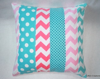 16x16 Pillow Cover for Nursery or Girl's Room - Pink and Aqua Pillow Cover - Aqua and Pink Nursery Decor - READY TO SHIP!
