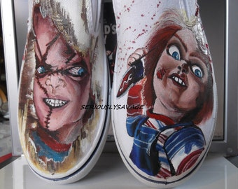Custom Painted Classic Horror Movie Chucky Good Guys Childs Play Vans Converse Toms Mens Womens Children