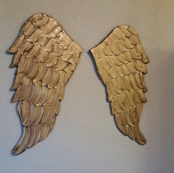 Wood Wings Wall Decor : Angel wings wall art carved look wood by