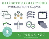 INSTANT DOWNLOAD Alligator Printable Party Package (Alligator Birthday, Preppy Alligator Party, Alligator Party Decorations, Navy Alligator)