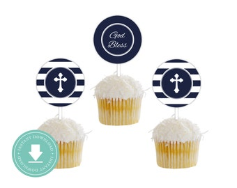 INSTANT DOWNLOAD First Communion Cupcake Toppers (Religious Cupcake Toppers, Party Circles, Printable Cupcake Toppers, Boys Religious)