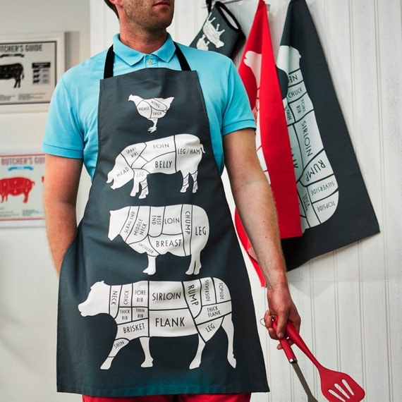 Butcher Meat Cuts Kitchen Apron - Gift for him - Foodie Gift - Chef Apron - Animal Cuts of Meat Apron - BBQ apron - gift for him - chef gift