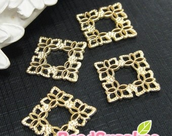 CH-ME-02280 - Matted gold plated, Square filigree charm, 6 pcs