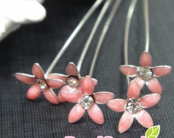FN-HP-09002-  Flower headpin, pink, 6 pcs