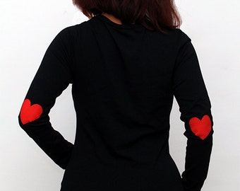 Red heart hand PAINTED  longsleeve