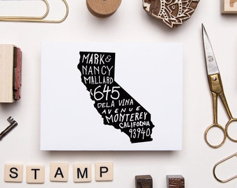 Custom Hand Lettered State Address Stamp - Any State