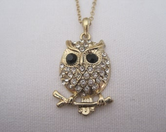 Gold Owl Necklace - Gold Own with Tree Branch - Gold Rhinestone Owl Necklace
