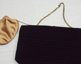 Vintage HL Black Clutch and Change Purse