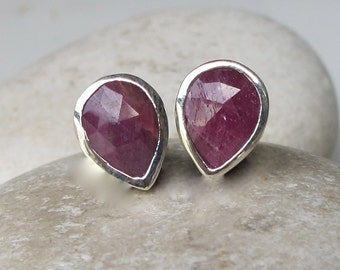 Pear Shaped Ruby Earring- Classic Ruby Stud Earring- Simple Red Earring- July Birthstone Earring- Sterling Silver Earring