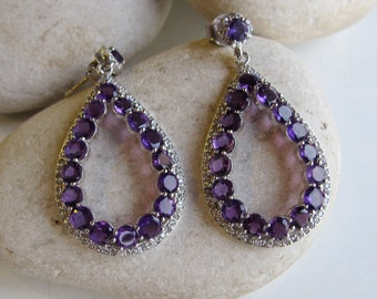 Purple Amethyst Earring- Purple Statement Earring- Evening Dangle Earring- February Birthstone Earring- Wedding Engagement Earring