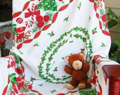 Waiting for Santa Note Cards, Vintage Holiday Tablecloth and Vintage Bear, Set of 12, Matching Gift Tags, **Big Inventory Reduction Sale**