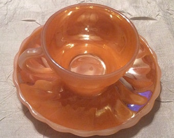 Vintage Miniature Small Anchor Hocking Fire King Three Bands Peach Lustre Teacup & Saucer